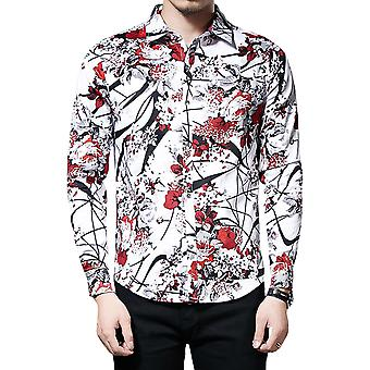 Allthemen heren shirt met lange mouwen Plum Blossom Branch causaal shirt