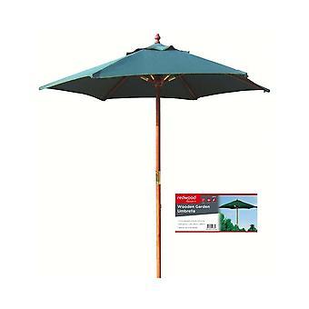 2.1M Wooden Garden Fabric Umbrella Parasol Green
