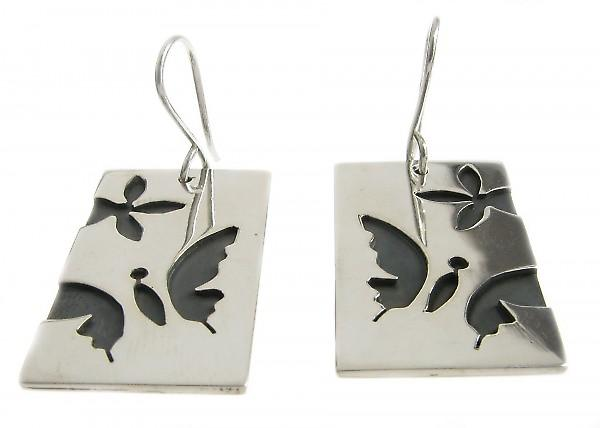 Cavendish French Sterling Silver Butterfly Dog Tag Earrings
