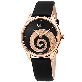 Burgi Women's BUR201 Swarovski Swirl Diamond Marker Satin Leather Strap Watch BUR201RGBK
