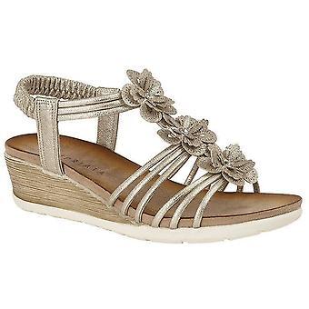 Ladies Womens Sandals 3 Flower Halter Back Mid Wedge Heel Shoes