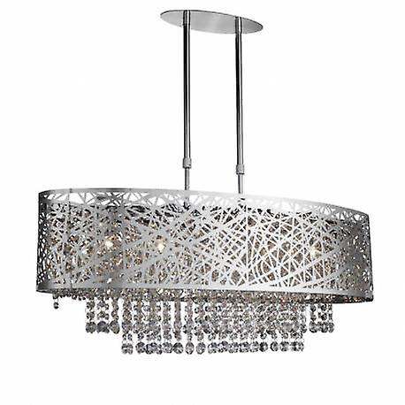 5 lumière Adjustable Ceiling pendentif Bar Chrome With crystals