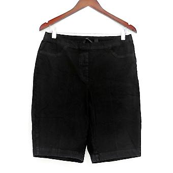 Isaac Mizrahi Live! Women's Shorts 24/7 Denim Bermuda Black A306549