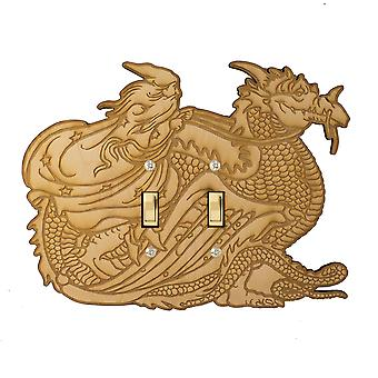 Wizard and dragon double switch plate 8.9x6.7 laser engraved wood