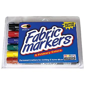 Fabric Marker Brush Tip 6 Pkg Primary 530 6 A