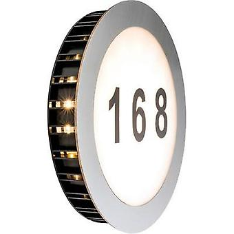 LED illuminated house number 5.6 W Warm white Paulmann Sun 93769 Stainless steel, White