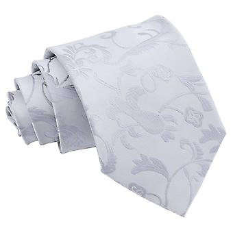 Silver Passion Floral Patterned Tie