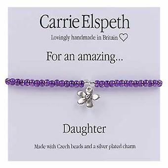 Carrie Elspeth For An Amazing Daughter Sentiment Daisy Flower Stretch Bracelet