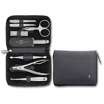 Zwilling Case With Zipper, Leather Legitima, Napa, Black, 8 Pieces