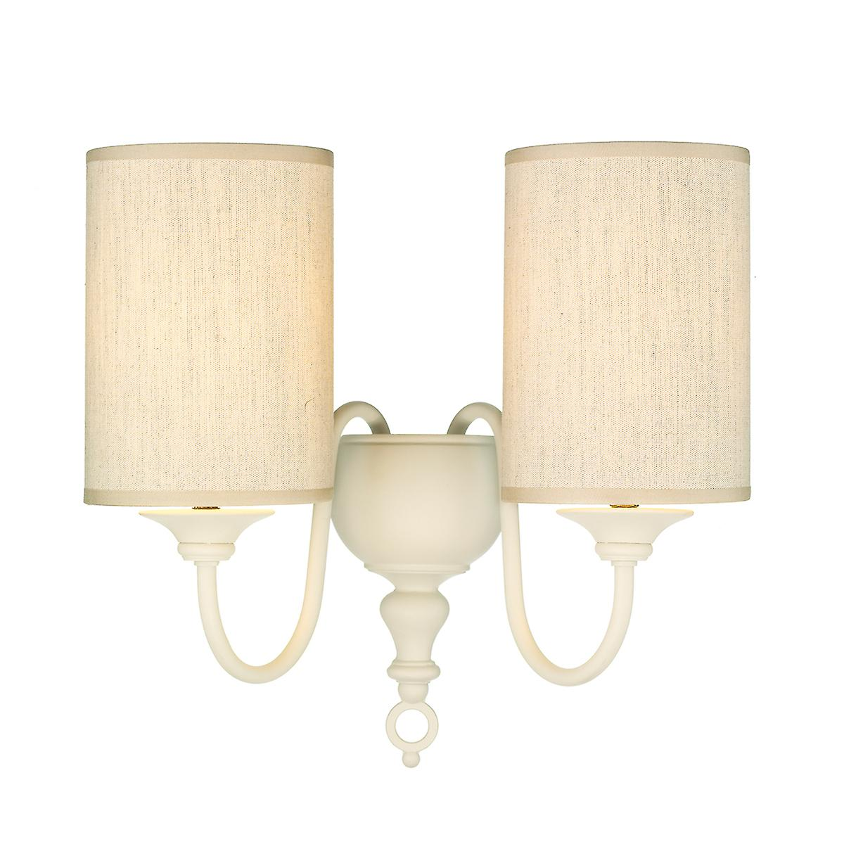 David Hunt FLE0933 Flemish Double Wall Bracket In A Cream Finish With Shade