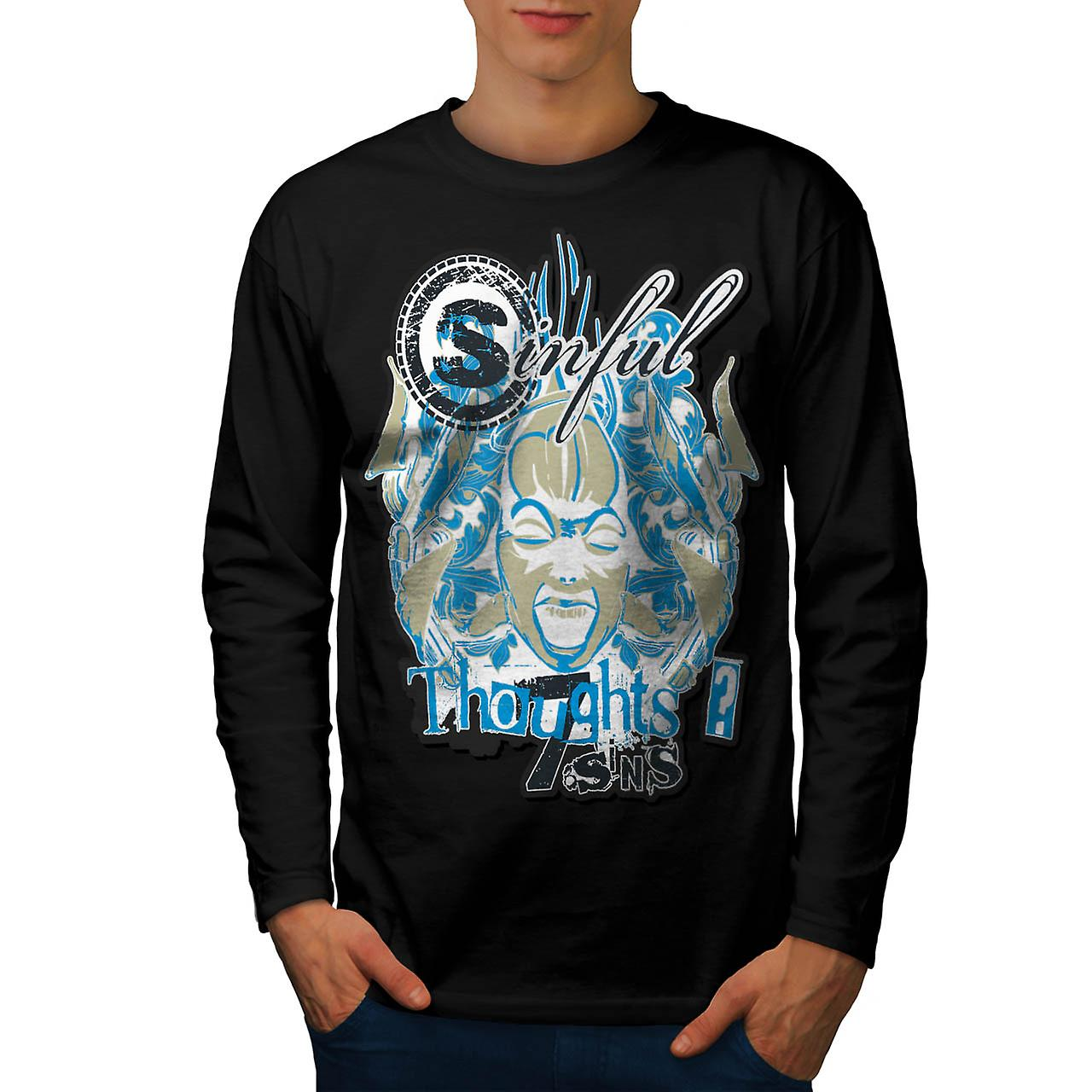 Sin City Thought Hell Crazy Mind Men Black Long Sleeve T-shirt | Wellcoda