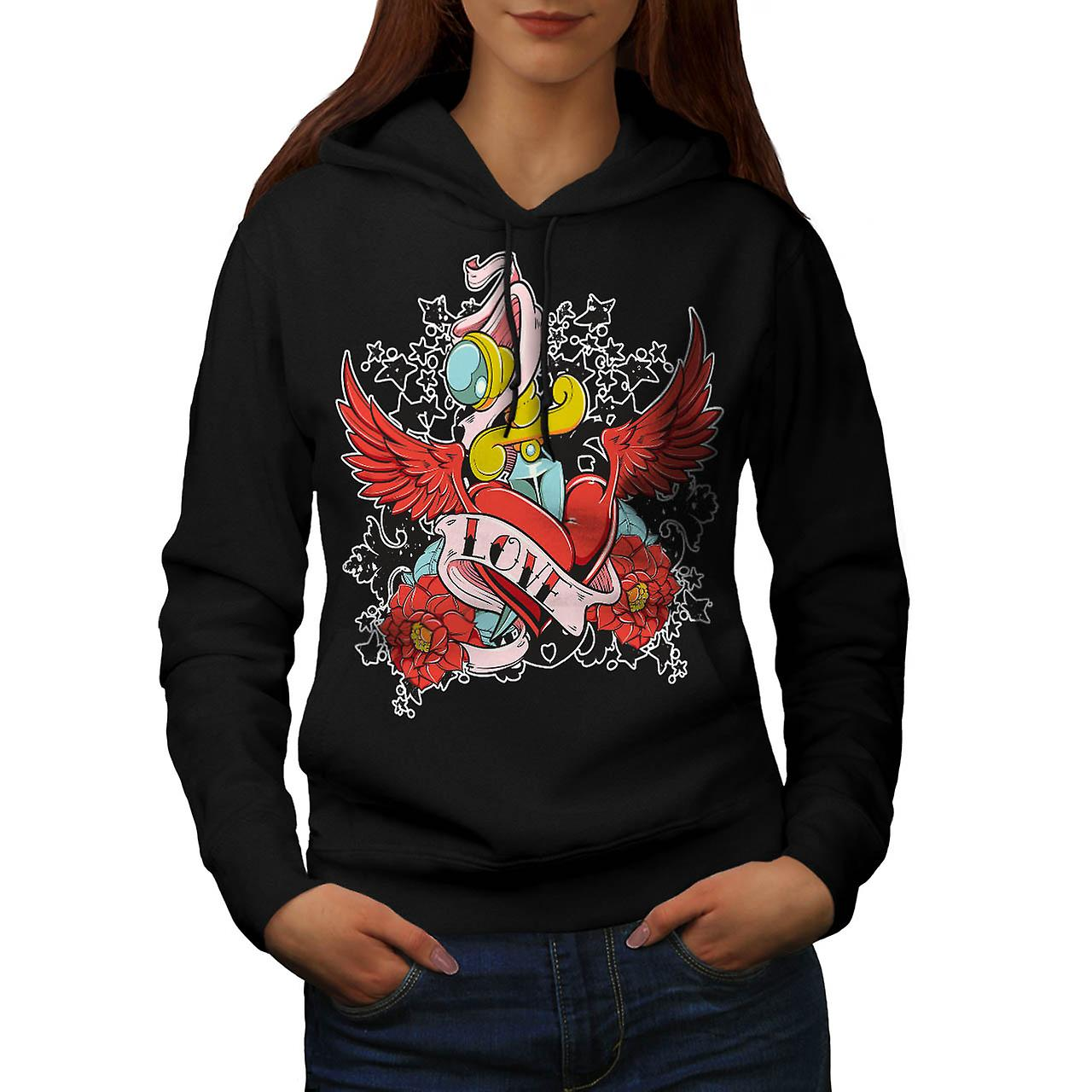 Love Heart Hurts Life Rose Wing Women Black Hoodie | Wellcoda