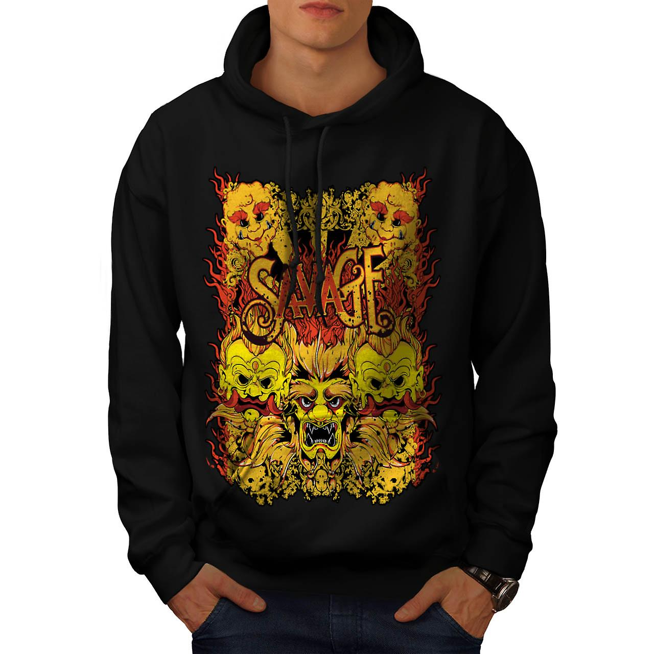 Savage Samurai Mask Asian Parade Men Black Hoodie | Wellcoda