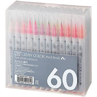Zig Clean Color Real Brush Markers 60/Pkg- RB600060