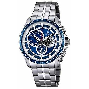 Festina Mens Chronograph Stainless Steel Bracelet Blue Dial F6850/2 Watch