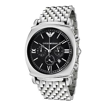 Emporio Armani AR0314 Silver Stainless Steel Strap Black Dial Chronograph Watch