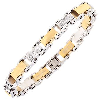Iced Out Edelstahl Micro Pave CZ Armband - 10mm silber gold