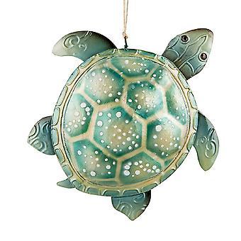 Ocean Animal Sea Turtle Seafoam Green Metal Christmas Holiday Ornament 6 Inch
