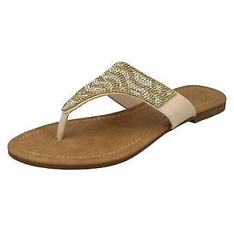 Ladies Savannah Flat Diamante Toe Post Sandals F000010