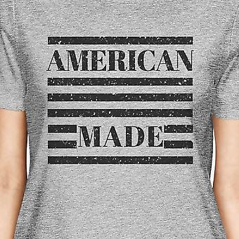 American Made Womens Grey Round Neck Tee Funny Saying 4th Of July