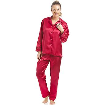 Camille Luxury röd Satin Pyjamas Set