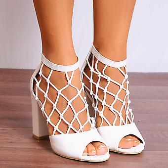 Koi Couture White Peep Toe Heels - Ladies Db68 White Pu Ankle Strap Caged Peep Toes Strappy Sandals High Heels