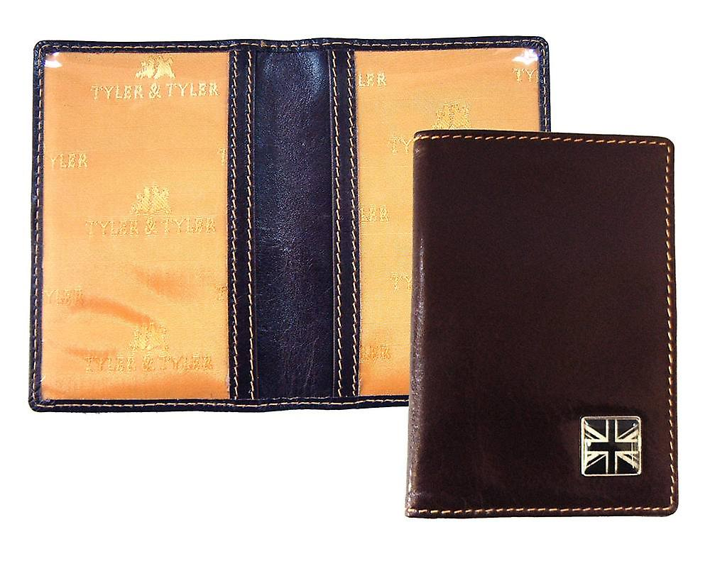 Tyler and Tyler Leather Union Jack Travel Card Holder  - Brown