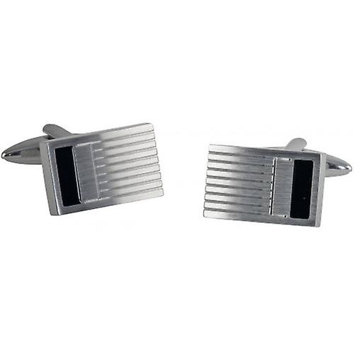 David Van Hagen Rectangle Carbon Fibre Cufflinks - Silver/Black