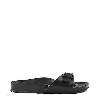 Birkenstock Madrid Black Rubber Buckle Flat Sandal