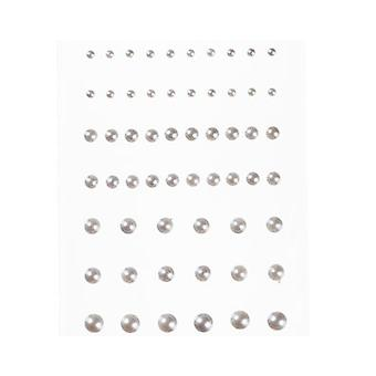 58 Assorted Self Adhesive Flat Back Pearls - Silver