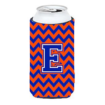 Letter E Chevron Orange and Blue Tall Boy Beverage Insulator Hugger