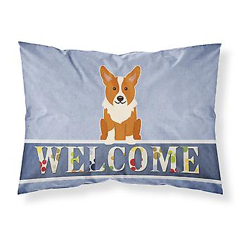 Carolines Treasures  BB5681PILLOWCASE Corgi Welcome Fabric Standard Pillowcase