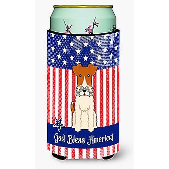Patriotic USA Wire Fox Terrier Tall Boy Beverage Insulator Hugger