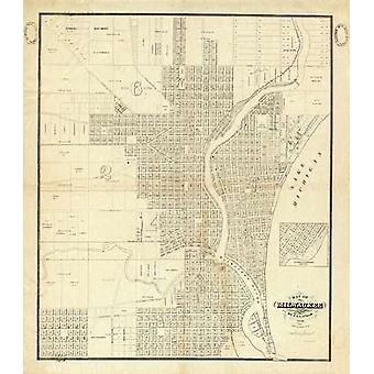 Карта печати плаката Милуоки 1856, IA Lapham
