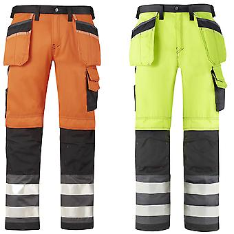 Snickers Hi Vis Trousers. Kneepad & Holster Pockets. Class 2. UK SUPPLIER-3233