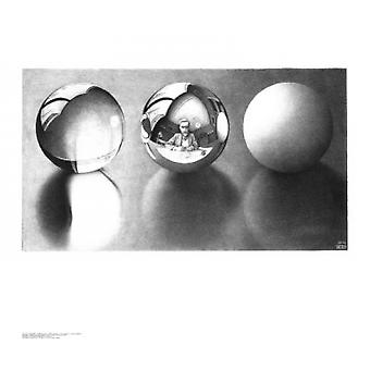 Three Spheres I Poster Print by MC Escher (26 x 22)