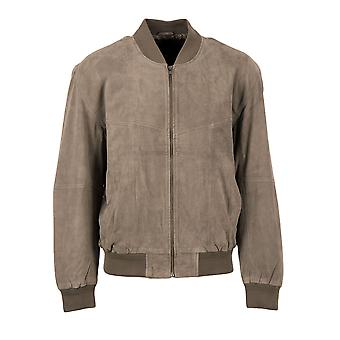 Gregor Suede Bomber Jacket in Grey