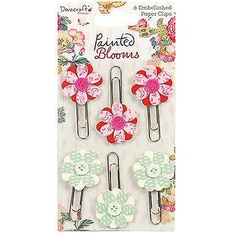 Dovecraft Painted Blooms Decorative Paper Clips 6/Pkg- DCTOP046