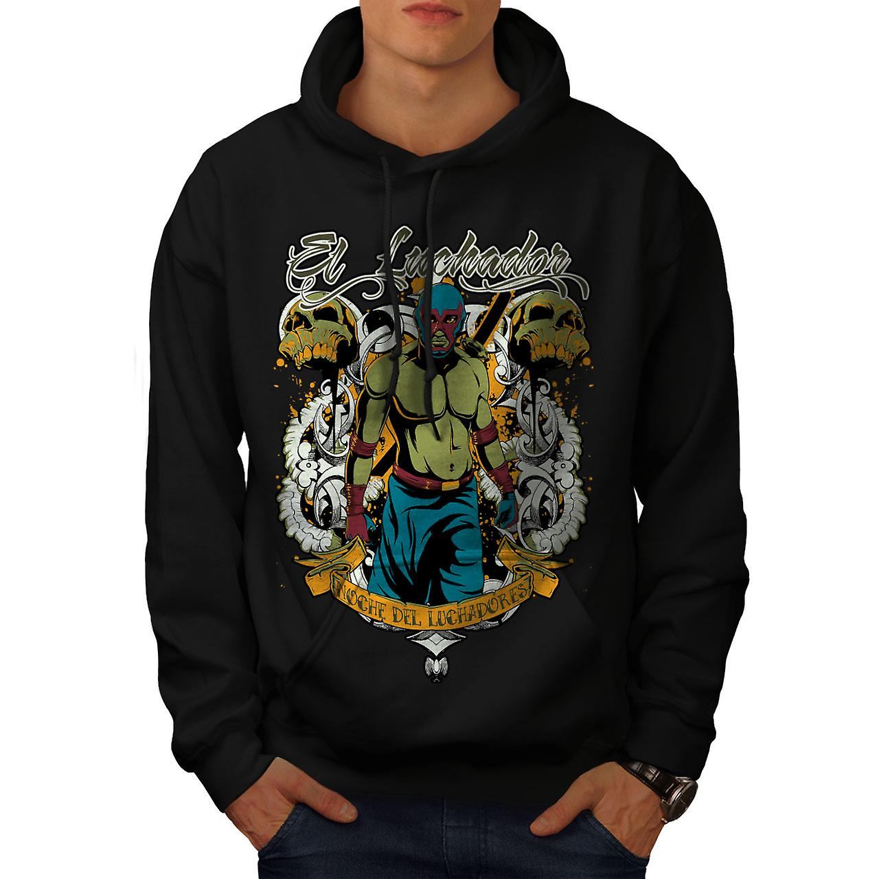 Fighter Zombie Fantasy Men Black Hoodie | Wellcoda
