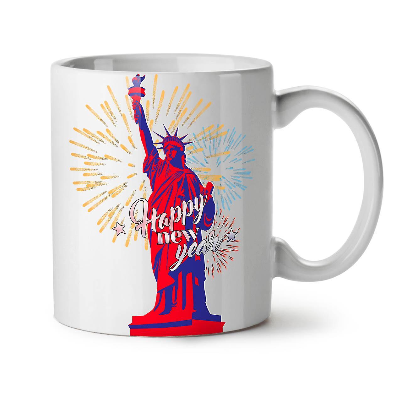 New Coffee 11 OzWellcoda Mug Freedom Ceramic Statue White Tea Year HWDbE2IY9e