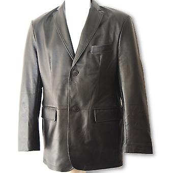 Large Black Mens Leather Coat