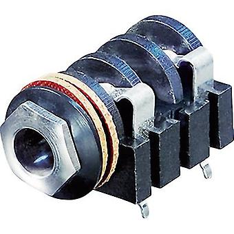 6.35 mm audio jack Socket, horizontal mount Number of pins: 2 Mono Black Rean AV NYS2152 1 pc(s)
