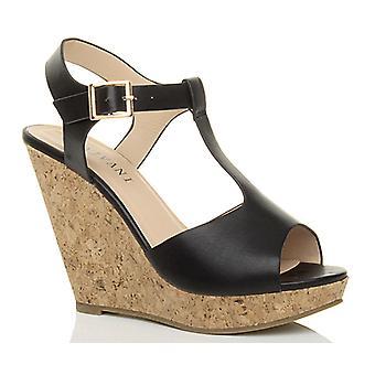 Ajvani womens high heel cork wedge platform summer t-bar buckle sandals