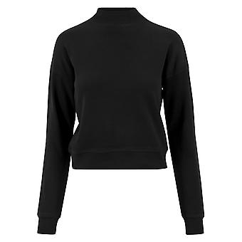 Urban classics ladies - INTERLOCK-cropped black crewneck
