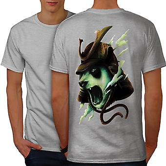 Armored Panda Head Men GreyT-shirt Back | Wellcoda