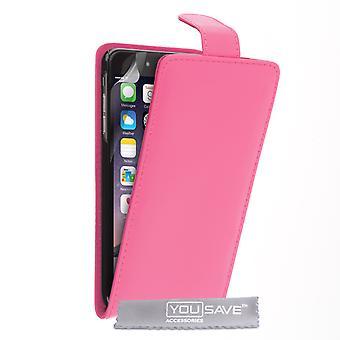 iPhone 6 Plus skóry-efekt Flip Case - Hot Pink