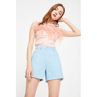 Side Party High Waisted Raw Edge Denim Shorts