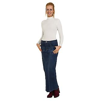 USKEES LISA Long Jeansrock - Midwash voller Länge Maxirock UK Sizes10, 22