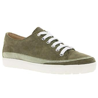 CAPRICE leather sneakers shiny ladies khaki
