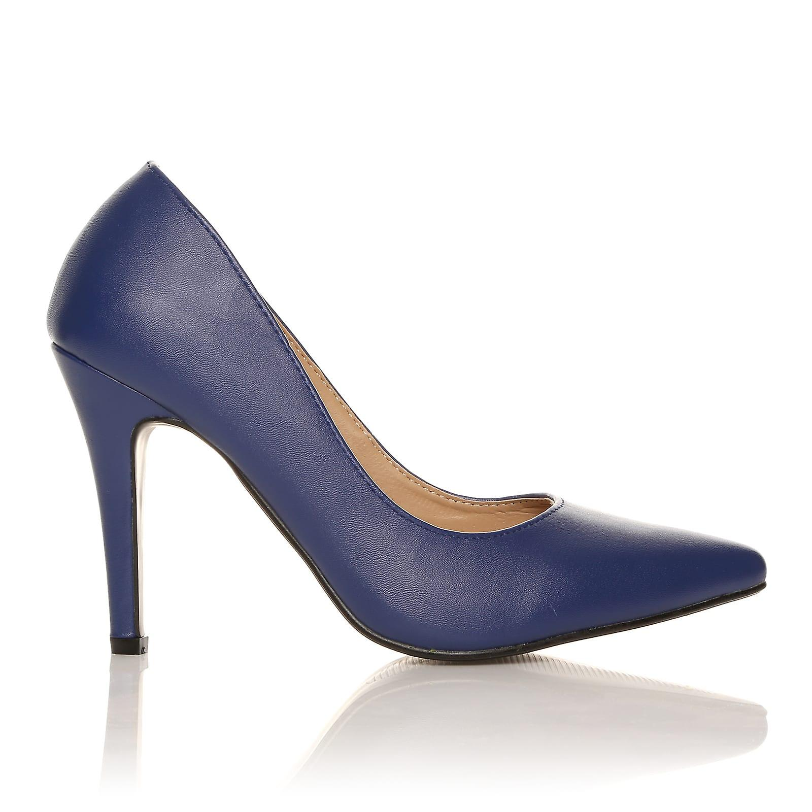 DARCY Navy PU Leather Stilleto Shoes High Heel Pointed Court Shoes Stilleto e4ce45